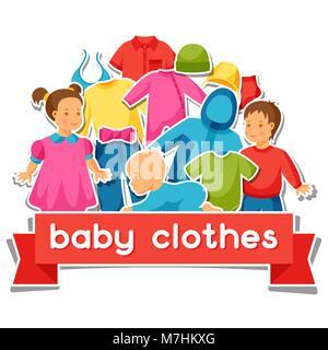 Baby Kleidung. Hintergrund mit Kleidungsstücken für Neugeborene und Kinder - Stockfoto