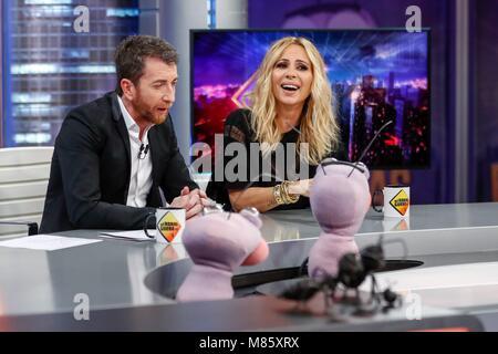 Marta Sanchez während des spanischen TV-Show, El Hormiguero, von Pablo Motos auf Tres 60 Studio, Antena 3, Madrid, - Stockfoto