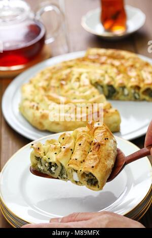 Hausgemachte gerollt Borek, Spinat und Fetakäse, türkische Küche - Stockfoto