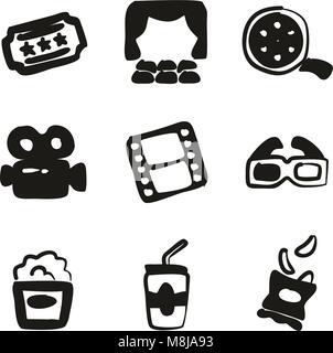 Kino Symbole Freehand füllen - Stockfoto