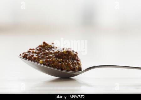 Einen gehäuften Teelöffel vollkorn Senf Schuß im natürlichen Licht mit sehr geringer Tiefenschärfe. - Stockfoto