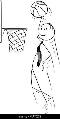 Cartoon von Geschäftsmann spielen Basketball und Ergebnis - Stockfoto