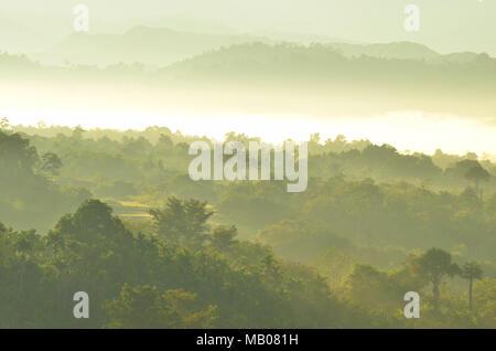 Schönen tropischen Mountain Mist im Regenwald mit Nebel von Sumatra, Aceh Besar, Provinz Aceh - Indonesien - Stockfoto