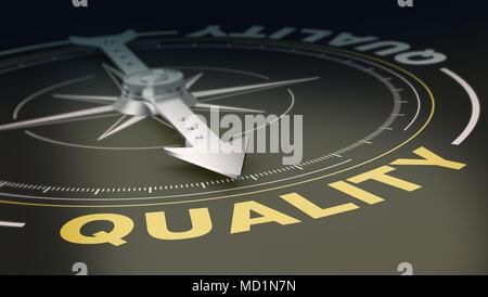 Kompass mit der Nadel senkrecht auf den Text: Qualität, Konzept der Suche oder ein Angebot mit qualitativ hochwertigen Produkten und Dienstleistungen (3d Render) - Stockfoto