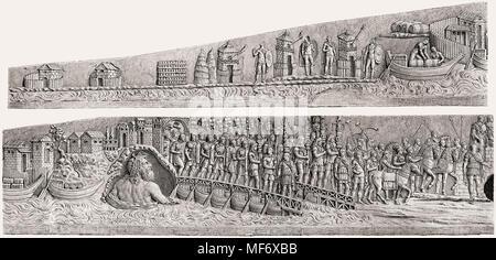 Bas-Relief der Dakischen Kriege des Trajan Spalte, einem römischen Siegessäule in Rom, Italien - Stockfoto