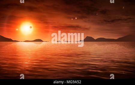 Wasser in Trappistenbier-1-System, Illustration. Trappistenbier-1 ist ein Roter Zwerg Die häufigste Sorte etwa 40 Lichtjahre entfernt in Wassermann. Im Jahr 2015 haben Astronomen entdeckt, dass Trappistenbier-1 Host wurde zu drei Planeten von der Größe der Erde. Dann kam sie unter den Scheinwerfer wieder im Jahr 2017 bei der NASA-Wissenschaftler fanden vier weitere Planeten, die insgesamt bis zu sieben. Dies ist die am meisten terrestrischen Planeten, die je einen einzigen Stern, einschließlich unseres eigenen Sonnensystems Umlaufbahn gefunden worden. Trappistenbier-1 ist nur geringfügig größer als Jupiter im Durchmesser. - Stockfoto