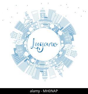 Umrisse Lugano Schweiz Skyline mit blauen Gebäude und Kopieren. Vector Illustration. Business Travel und Tourismus Abbildung - Stockfoto