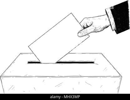 Vektor künstlerische Abbildung oder Zeichnung der Wähler der Hand Umschlag in Urne - Stockfoto
