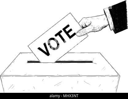 Vektor künstlerische Abbildung oder Zeichnung der Wähler der Hand Umschlag mit Text in Wahlurne abstimmen - Stockfoto