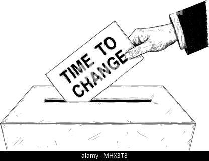 Vektor künstlerische Abbildung oder Zeichnung der Wähler der Hand Umschlag mit der Zeit ändern Text in Urne - Stockfoto