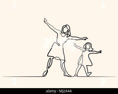 Familie mit Mutter und Mädchen in Fliegen - Stockfoto