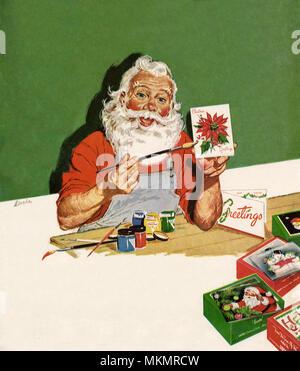Santa Farben Weihnachtskarte - Stockfoto