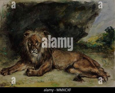 . Englisch: Löwe. zwischen 1848 und 1850. Eugene Delacroix, Löwe, 1848-1850. Aquarell, mit Weißen, 15,2 x 20,2 cm. Museum der Bildenden Künste, Budapest - Stockfoto