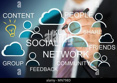 Geschäftsmann Zeichnung ein soziales Netzwerk mit virtuellen Bildschirm mit Stift-3 D - Stockfoto