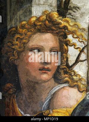 Die Ehe von Alexander dem Großen und Roxanne, Gesicht einer der Diener Frauen (in PS gemacht), von Sodoma, Villa Farnesina, Rom - Stockfoto