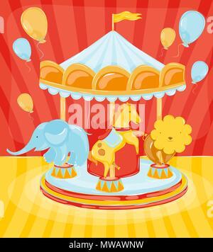 Circus Karussell mit Tieren Pferd mit ein Elefant und ein Löwe mit Luftballons - Stockfoto