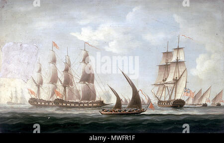 . Englisch: Malerei: 330 mm x 545 mm; Rahmen: 392 x 605 x 35 mm. ca. 1816. Thomas Butterworth (1768-1842) 388 Mahratta Piraten Angriff auf die schaluppe 'Aurora', der Bombay Marine, 1812; Beginn der Aktion - Stockfoto