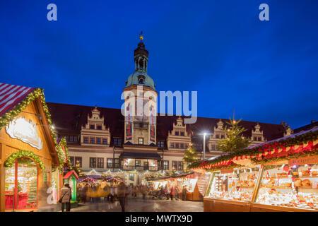 Weihnachtsmarkt, Altes Rathaus (Altes Rathaus), Leipzig, Sachsen, Deutschland, Europa - Stockfoto