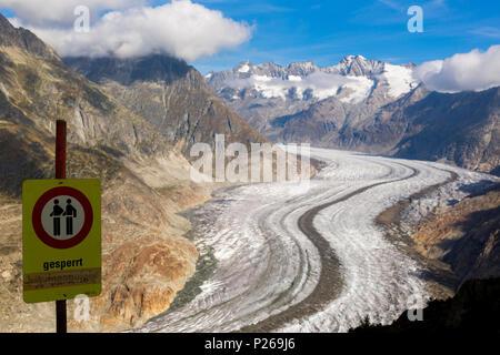 Riederalp, Schweiz, den Aletschgletscher - Stockfoto