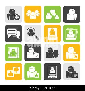 Silhouette Social Media und Netzwerksymbole-Vektor Icon Set - Stockfoto