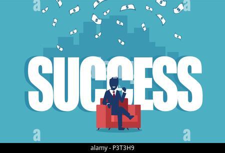 Vektor für eine erfolgreiche businesman in einem roten Sessel sitzt unter Geld Regen mit einer Skyline im Hintergrund - Stockfoto