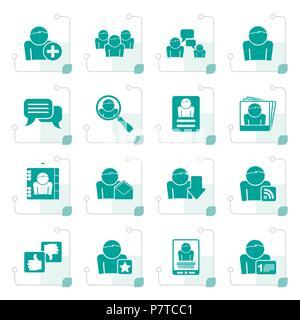 Stilisierte Social Media und Netzwerksymbole-Vektor Icon Set - Stockfoto