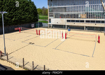 Beach Volleyball Courts im Crystal Palace National Sports Center, Crystal Palace, London, England, Vereinigtes Königreich - Stockfoto