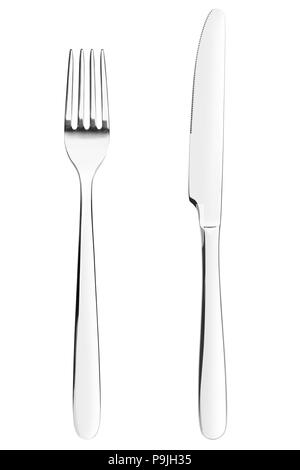 Gabel, Messer, Besteck auf weißem Hintergrund, isoliert, Freistellungspfad - Stockfoto