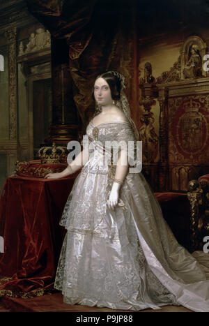 Porträt von Elizabeth II., Königin von Spanien, 1844, öl von Federico Madrazo. - Stockfoto
