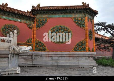 Dekoration in der Verbotenen Stadt in Peking, China. - Stockfoto