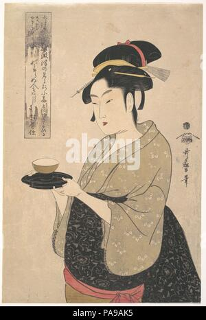 Okita der Naniwa-ya Tee-Haus. Artist: Kitagawa Utamaro (Japanisch, Ca. 1754-1806). Kultur: Japan. Abmessungen: H. 14 5/16 in. (36,4 cm); W. 9 1/2 in. (24,1 cm). Datum: 1790s. Museum: Metropolitan Museum of Art, New York, USA. - Stockfoto