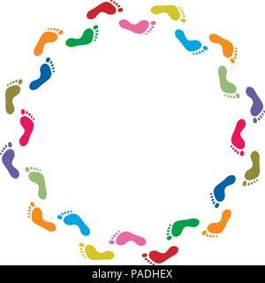 Vektor abstrakte Darstellung der bunten footprint Symbole, Hintergrund Grenze - Stockfoto