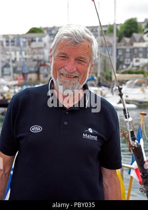 Jean-Luc Van Den Heede, Skipper in der Golden Globe 2018 alleine Segelregatta rund um die Welt. Foto in Falmouth, Großbritannien, im Juni 2018. - Stockfoto