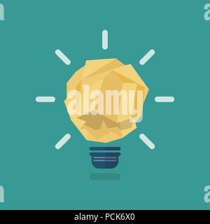 Zerknittertes Papier Glühbirne Idee. Vector Illustration - Stockfoto
