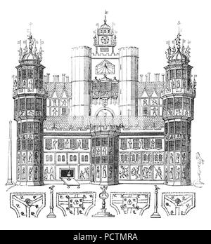 Gegen Ende der Regierungszeit Königin Elizabeth ich sie oft in Nonsuch Haus auf die London Bridge residierte. Von ihrem Vater, König Heinrich VIII., ist in den Niederlanden gebaut, zerlegt und in London geliefert in Stücken im Jahre 1578, wo es ohne die Tischler Nägel oder Maurer Mörtel zusammengesetzt war, nur Holzwirbel in Auftrag gegeben. Die Brücke trug Häuser und Geschäfte entlang seiner Länge und Nonsuch Haus war eine bemerkenswerte Eigenschaft aus dem sechzehnten Jahrhundert, bis es unten im achtzehnten Jahrhundert abgerissen wurde. - Stockfoto