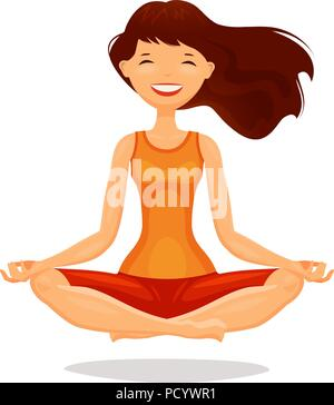 Junge Frau, Mädchen üben Yoga im Lotussitz. Meditation, Konzept entspannen. Cartoon Vector Illustration - Stockfoto