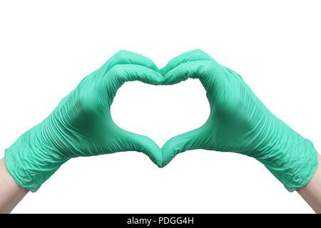 Herz aus grünem Medizinische Handschuhe, gesunden Lebensstil, Nutzen von Vitaminen, Impfung, Angst vor Injektionen, Medizin, Pharmazie, Präsentation, - Stockfoto