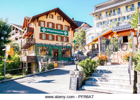 Schweiz - 22. August 2016: Wengen alte Dorf - Stockfoto