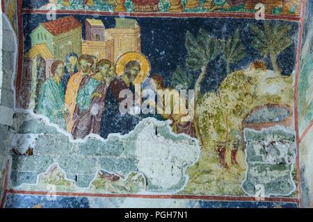 TRABZON, Türkei - 18. August 2018: Jesus Heilung der blinden Mann am Teich Siloah. Die Fresken der alten byzantinischen Kirche Hagia Sophia in Trabz - Stockfoto