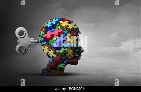 Autismus Therapie Konzept, wie eine Gruppe von puzzleteile als Kopf eines Kindes als eine autistische Symbol für psychische Störung Idee geprägt. - Stockfoto