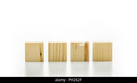 Vier leere Holzwürfel oder Bausteine stellten sich in einer Reihe auf einem weiß reflektierend mit Copyspace für Ihren Text, Zahlen oder Buchstaben. - Stockfoto
