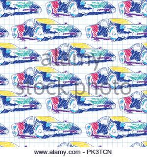 Nahtlose Muster mit Sport Auto. Schule Schnittplanzeichnung im Notebook - Stockfoto