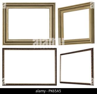 Verschiedenen Bilderrahmen aus profilierten Holz mit goldener Farbe bemalt - Stockfoto