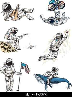 Satz von Astronauten im Weltraum. Sammlung hochfliegende Spaceman mit Fahne, Wal und Luftballons. Tänzer Musiker Abenteuer in der Galaxis. Obdachlose traveler graviert Hand gezeichneten Comic Skizze. - Stockfoto