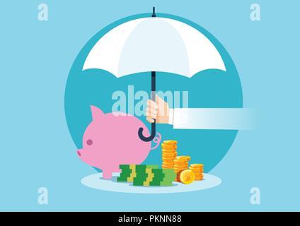 Vektor eines Hand Dach Geld zu schützen. Finanzielle Einsparungen Konzept. - Stockfoto