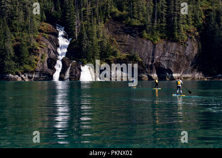 Stand up Paddle Boarding vor einem großen Wasserfall in der Eiszeitlich geschnitzt von Tracy Arm Fjord im Südosten Alaska USA - Stockfoto