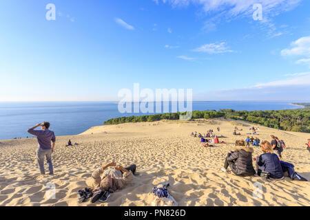 Frankreich, Gironde, Côte d'Argent, Parc naturel Marin du Bassin d'Arcachon (Arcachon Bay Marine Naturpark), La Teste de Buch, Pyla sur Mer, Dune du Pi - Stockfoto