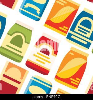 Nahtlose Muster. Pakete für Getreide. Papier und Kartonagen für Lebensmittel. Flache vektor Symbol Vorlage. Vector Illustration auf weißem Hintergrund. - Stockfoto