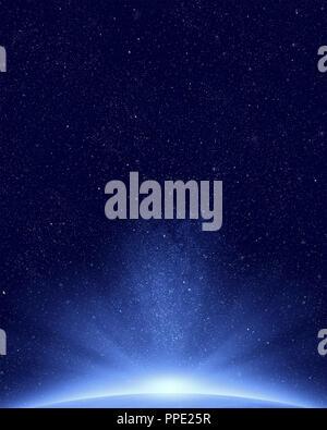 Der Planet Erde mit Sonnenlicht erscheinen auf der Nachthimmel und die Sterne im Hintergrund - Stockfoto