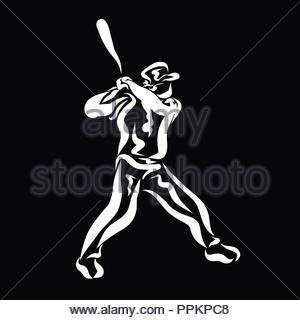 Ein Mann mit einem Baseballschläger in der Hand, ein Spiel - Stockfoto